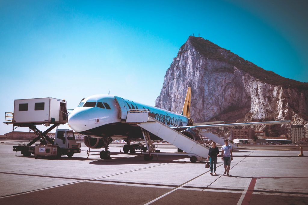Gibraltar Airport with the Rock in sight