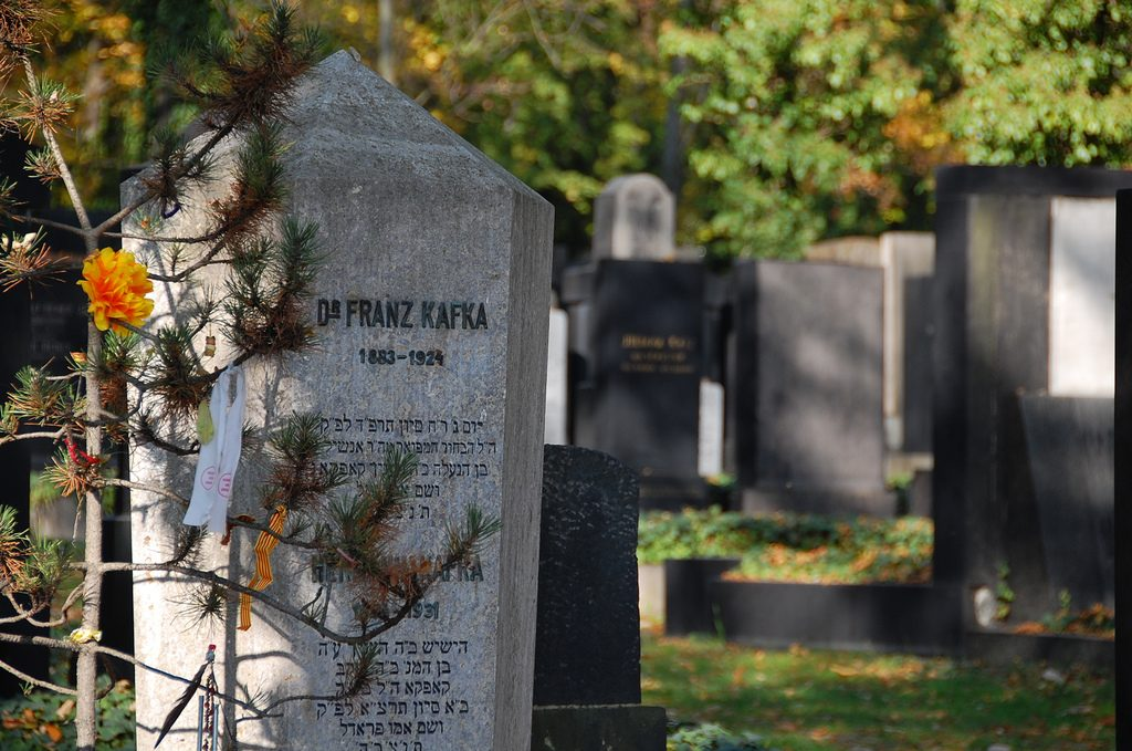 Franz Kafka's grave in the Jewish Cemetery